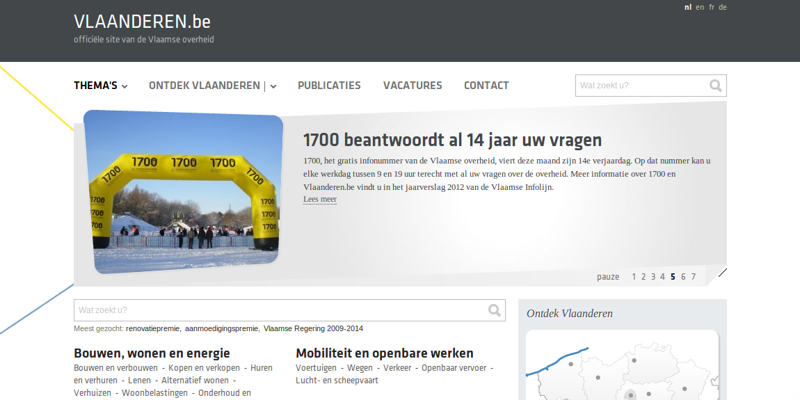 Vlaanderen website screenshot